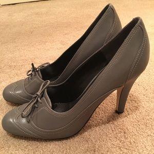Gray leather 2.5 heels.